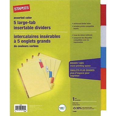 Staples Large Tab Insertable Divider 5 Tab Assorted Buff - 1 Set