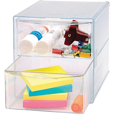 Sparco™ 2-Drawer Storage Organizer, Clear