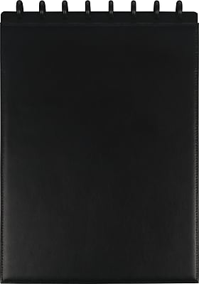 Staples® Top Bound Arc Customizable Leather Preassembled Notebook, Letter Size, Black, 60 Sheets