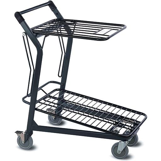 EZtote580 Tote Cart w/ Retractable Flat Wire Top, Dark Grey/ Black