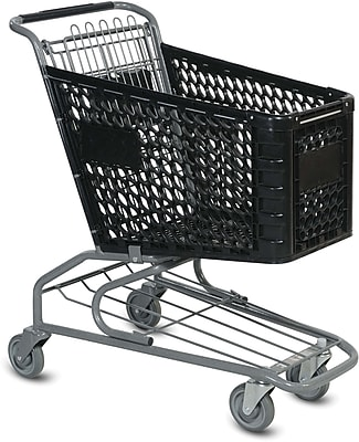 Traditional Plastic Shopping Cart, Black, 72 liters