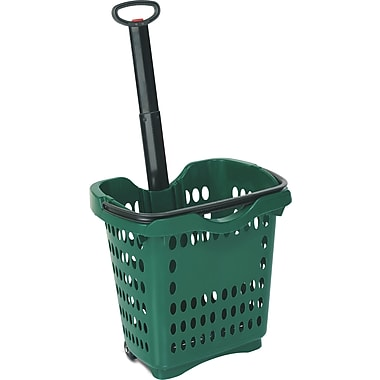Rolling Hand Basket w/ Retractable Pull Handle, 40 Liter, Dark Green, 10 Baskets/Pack