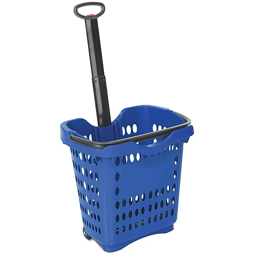Rolling Hand Basket w/ Retractable Pull Handle, 40 Liter, Dark Blue, 10 Baskets/Pack