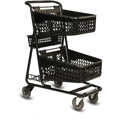 TT-100 Convenience Shopping Cart, Black Frame, Black Baskets