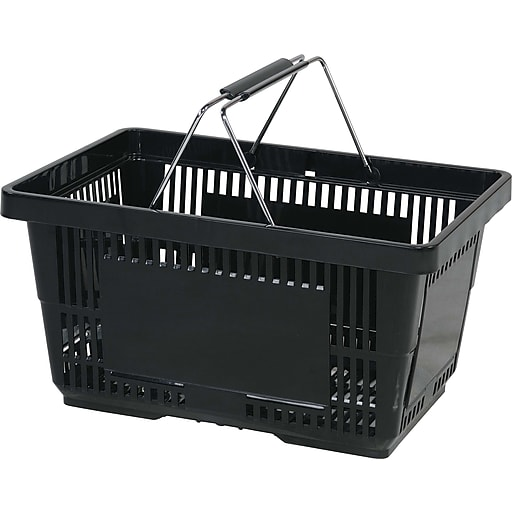 Wire Handle Hand Basket, 28 Liter, Black, 12 Baskets/Pack
