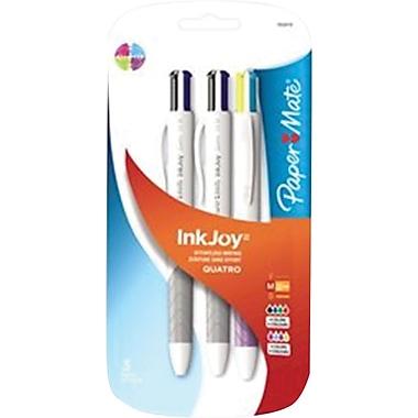 Paper Mate® InkJoy® Quatro Retractable Ballpoint Pens, Medium Point, Assorted, 3 Pack