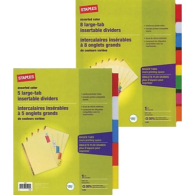 Staples Large Tab Insertable Divider Tabs Assorted Buff - 1 Set