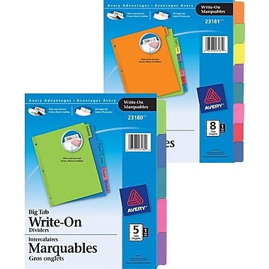 Avery® - Intercalaires inscriptibles, 5 onglets