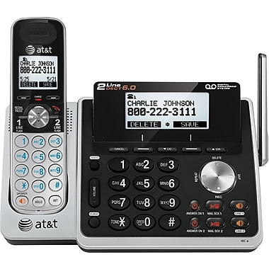 AT&T TL88102 DECT 6.0 2-Line Cordless Phone with Digital Answering System