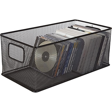 Staples Black Wire Mesh Large DVD Storage Box