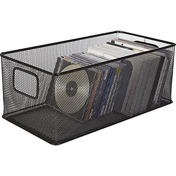 Black Wire Mesh Large DVD Storage Box
