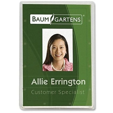 Baumgartens® ID Card Holder, Vertical, Clear, 25/Pack