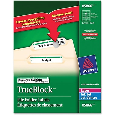 Avery® TrueBlock Laser Green Filing Labels, 2/3