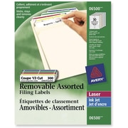 "Avery® Removable Laser/Inkjet Assorted Colours Filing Labels, 3-7/16"" x 2/3"", White, 300/Pack"
