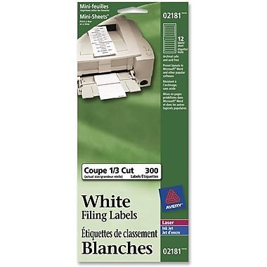 Avery Étiquettes de classement amovibles, 3 7/16 x 2/3 po, blanc, 300/paquet