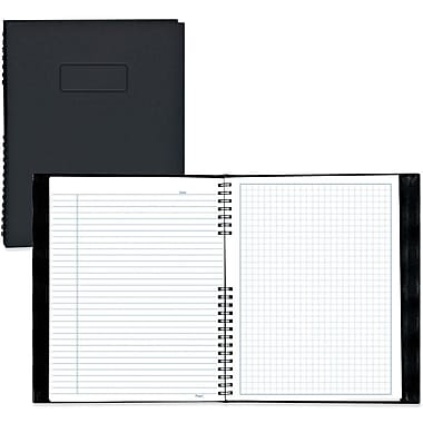 BluelineMD – Agenda NotePro, lignage large et quadrillage, 7 3/5 x 9 1/2 po, noir, 192 pages