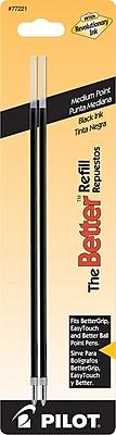 Pilot Ball Point Pen Refill, Medium Point, 1.0 mm, Black Ink, 2/pk