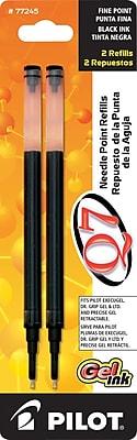Pilot Gel Roller Refill, Fine Point, Black, 2/Pack (77245)