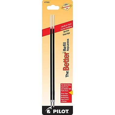 Pilot Better Ball Point Refill, Medium Point, Red, 2/Pack (77223)