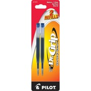 Pilot Dr. Grip Center of Gravity Ball Point Refill, Medium Point, Blue, 2/Pack (77272)