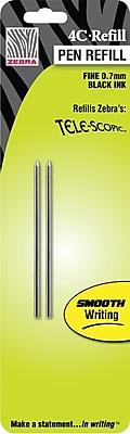 Zebra Fine Ballpoint Refill For Zebra 4C Telescopic Pocket Pens, 2/Pack, Black