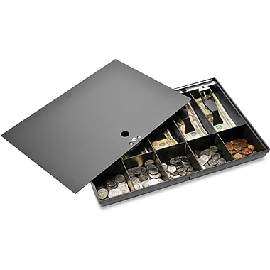 Sparco™ 10-Compartment Locking Cover Money Tray, Black