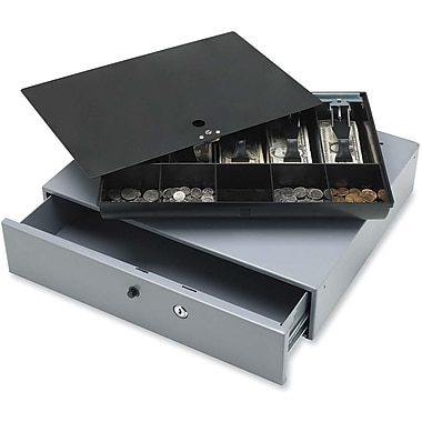 Sparco™ Removable Tray Cash Drawer with Key lock and Release Button, Grey