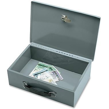 Sparco™ All-Steel Insulated Cash Box with Key lock, Grey
