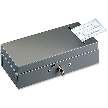 SteelMaster® Steel Cash Box with Cheque Slot, Charcoal Grey