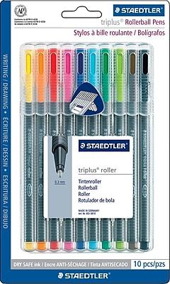 Staedtler Triplus Rollerball Pens, .4mm, Assorted Colors, 10/Pack