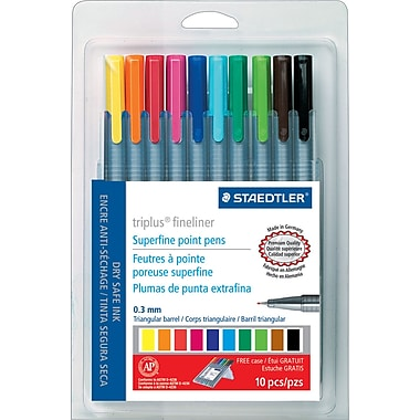 Staedtler Triplus Fineliner 334 Superfine Point Pens, .3mm, Assorted Colors, 10/Pack