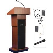 AmpliVox – Lutrin Executive sans fil à hauteur réglable avec système de sonorisation, acajou