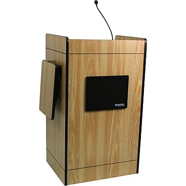 Amplivox Multimedia Computer Lectern With Sound System, Medium Oak