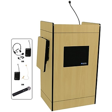 Amplivox Multimedia Computer Lectern With Wireless Sound System, Maple