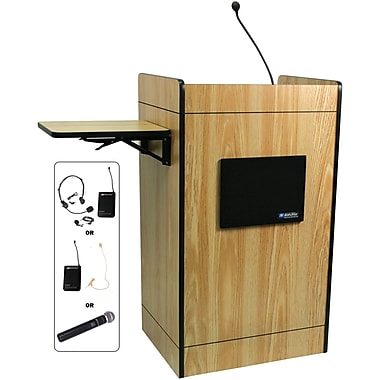 Amplivox Multimedia Computer Lectern With Wireless Sound System, Medium Oak