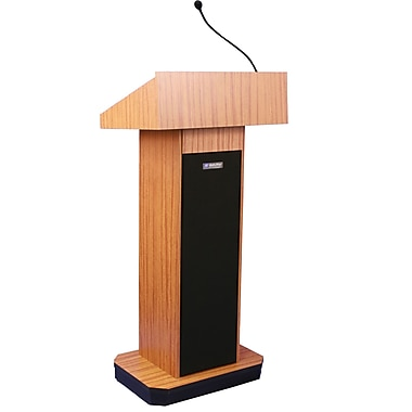 AmpliVox® Executive Sound Column Lectern, Medium Oak