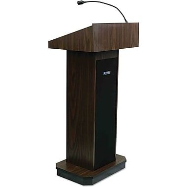 AmpliVox® Executive Sound Column Lectern, Walnut