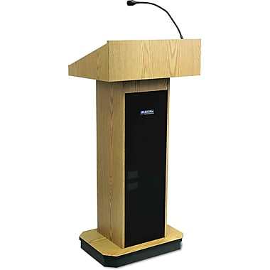 AmpliVox® Executive Sound Column Lectern, Light Oak