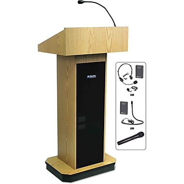 AmpliVox® Wireless Executive Sound Column Lectern, Light Oak