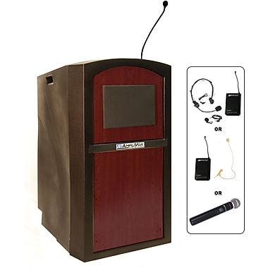 Amplivox Pinnacle Multimedia Lectern Wireless With Sound System, Mahogany