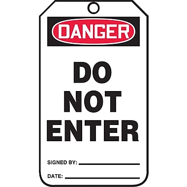 Accuform Signs® Danger Do Not Enter Tag, Plastic, 10-Line Remarks, 5-7/8