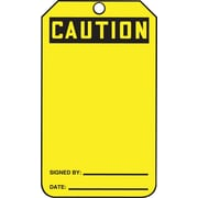 Accuform Signs® - Étiquette « Caution », recto et verso vierges, paq./25, jaune
