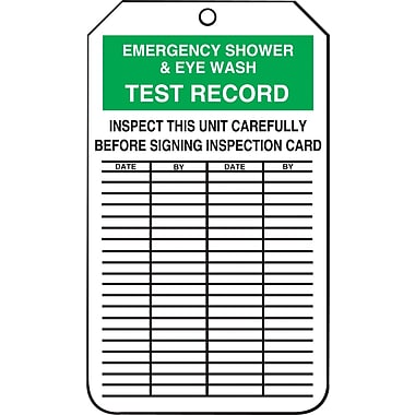 Accuform Signs®-Étiquette Emergency Shower and Eye Wash Test Record, plastique, 5 7/8 (haut.)x3 3/8 (long.), p/25