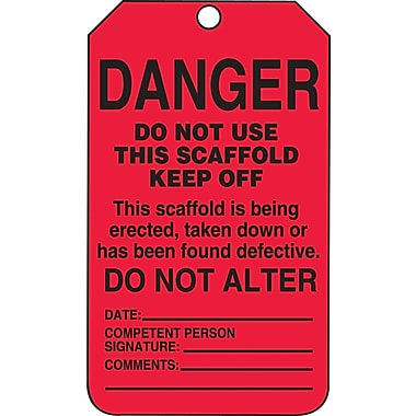 Accuform Signs®-Étiquette Danger Do Not Use This Scaffold Keep Off, papier cartonné, 5 7/8 (haut.)x3 1/8 (long.), p/25