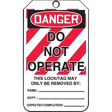 Accuform Signs® Danger Do Not Operate Tag with Lockout Background, Cardstock, 5-7/8