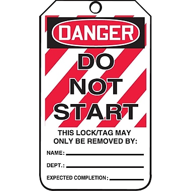 Accuform Signs® Danger Do Not Start Tag with Lockout Background, Cardstock, 5-7/8