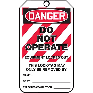 Accuform Signs® Danger Do Not Operate, Equipment Locked Out Tag with Lockout Background, 25/Pack