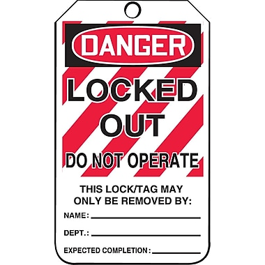 Accuform Signs® Danger Locked Out Do Not Operate Tag with Lockout Background, Plastic, 5-7/8