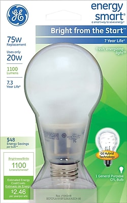 20 Watt GE Energy Smart® Bright from the Start™ A21 CFL, Soft White