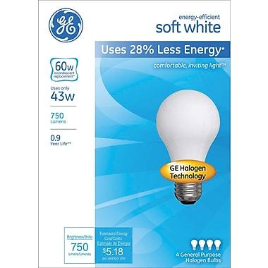 GE® Energy-Efficient A19 Lightbulb, 43 Watt (60 Watt Equivalent) Soft White (66247)